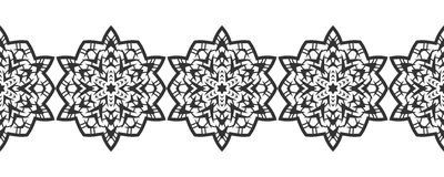 Snowflake. Christmas seamless pattern. Circular ornament and decorative lace. Stock Photography