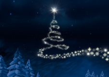 Snowflake Christmas tree pattern shape glowing in Winter night sky. Digital composite of Snowflake Christmas tree pattern shape glowing in Winter night sky Royalty Free Stock Photography