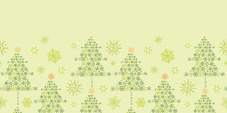 Snowflake Christmas Trees Horizontal Seamless Stock Images