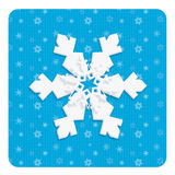 Snowflake Christmas wishes poster. Christmas winter wishes poster with one beautiful white snowflake on blue fabric background. Digital Illustration stock illustration