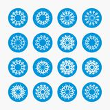 Snowflake circle icons. Christmas winter symbol Royalty Free Stock Photo