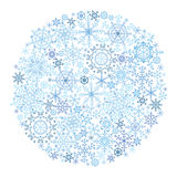 Snowflake circle on white background. Christmas or new year vector. Snowflake isolated circle composition on  white background,Iso .Wallpaper in Cool colors Stock Images