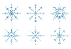 Snowflake Collection. Set of six hand drawn elegant snowflakes. Easy to Edit Royalty Free Stock Images