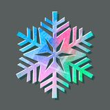 Snowflake color logo with texture scratched with ice skates on gray background.  Stock Image