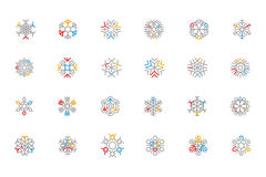 Snowflake Colored Outline Vector Icons 2 Royalty Free Stock Photography