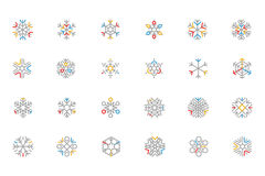 Snowflake Colored Outline Vector Icons 1 Royalty Free Stock Photography