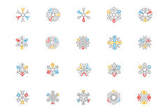 Snowflake Colored Outline Vector Icons 3 Royalty Free Stock Photography