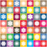 Snowflake on colorful squares abstract background Royalty Free Stock Photos