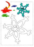 Snowflake coloring. Color illustration of a cute snowflake coloring Royalty Free Stock Image