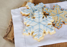 Snowflake cookie background Royalty Free Stock Photo