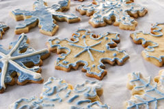 Snowflake cookie background Stock Photo
