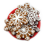 Snowflake Cookies. On white background Stock Images