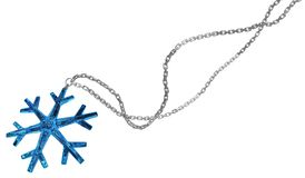 Snowflake Crystal Jewelry. Snowflake blue gem jewelry chain isolated, 3d illustration, horizontal Stock Photos