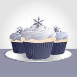 Snowflake cupcakes Stock Photography