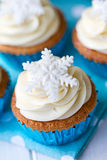 Snowflake cupcakes royalty free stock images