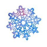 Snowflake, cut out shape with blue splashes color palette. Hand painted watercolor illustration isolated on white background stock illustration