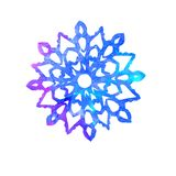 Snowflake, cut out shape with blue splashes. Color palette, hand painted watercolor illustration isolated on white background vector illustration