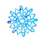 Snowflake, cut out shape with blue splashes. Color palette, hand painted watercolor illustration isolated on white background royalty free illustration