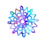 Snowflake, cut out shape with colorful splashes. Color palette, hand painted watercolor illustration isolated on white background vector illustration