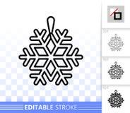 Snowflake decor simple black line vector icon vector illustration