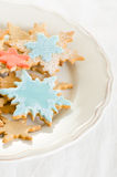 Snowflake decorated christmas cookies Royalty Free Stock Images