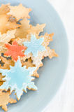 Snowflake decorated christmas cookies Stock Photo
