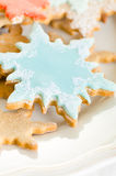 Snowflake decorated christmas cookies Stock Photos
