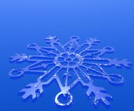 Snowflake Decoration. Over blue background with shinny snowflakes Royalty Free Stock Photography
