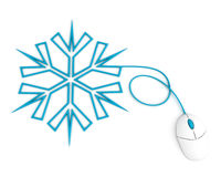 Snowflake depicted with computer mouse cable Stock Photography