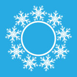 Snowflake design for frame background. Vector illustration. Winter pattern. Fashion Graphic . White and blue colors. Template for Stock Image