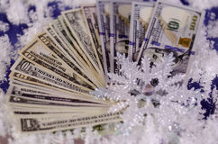 Snowflake and dollar bills of different denominations. Royalty Free Stock Photography
