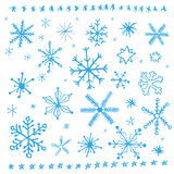 Snowflake doodle set. Illustration. Stock Photo
