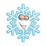 SnowFlake Emoticon - Hey Sweetie. Cartoon illustration of a snowflake emoticon with atoothy smile flirting Stock Photo