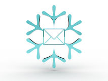 Snowflake with envelope. 3D image Stock Photography