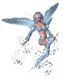 Snowflake Fairy - 3. Digital render of a winter fairy scattering silvery blue snowflakes Royalty Free Stock Photos