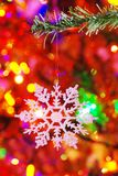 Snowflake On A Fake Spruce Branch Stock Photos