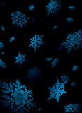 Snowflake fall. Illustration of snowflake falling in a nights sky lite to give a sense of perspective Stock Photo