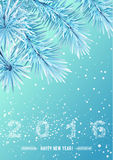 Snowflake figures 2016 on snow frozen tree branch Royalty Free Stock Image