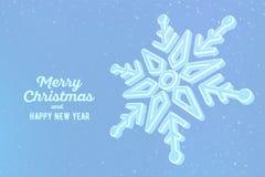 snowflake fiocco di neve 3d su fondo blu Fondo grafico di inverno Cartolina d'auguri di Buon Natale Nuovo anno felice Inverno illustrazione vettoriale