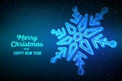snowflake fiocco di neve 3d su fondo blu Fondo grafico di inverno Cartolina d'auguri di Buon Natale Nuovo anno felice Inverno illustrazione di stock