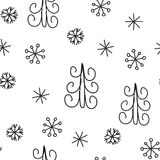 Snowflake and fir christmas tree. Christmas decoration pattern, seamless background, hand drawn elements. Vector illustration in black and white colors Royalty Free Stock Photos