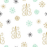 Snowflake and fir christmas tree. Christmas decoration pattern, seamless background, hand drawn elements. Vector illustration in black, gold, mint and white Stock Photo
