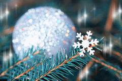 Snowflake on a fir-tree branch. Christmas card.Toned image Royalty Free Stock Photo