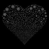 Snowflake Fireworks Heart. Snowflake fireworks with heart shape. Raster illustration style is flat white iconic symbols on a black background. Object valentine Royalty Free Stock Image