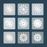 Snowflake flat icon set Royalty Free Stock Image