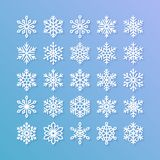 Snowflake flat icons set. Collection of cute geometric snowflakes, stylized snowfall. Design element for christmas or Stock Image