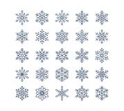 Snowflake flat icons set. Collection of cute geometric snowflakes, stylized snowfall. Design element for christmas or Stock Images