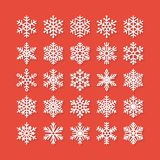 Snowflake flat icons set. Collection of cute geometric snowflakes, stylized snowfall. Design element for christmas or Royalty Free Stock Photos