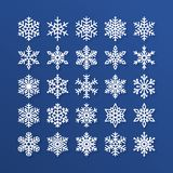 Snowflake flat icons set. Collection of cute geometric snowflakes, stylized snowfall. Design element for christmas or Royalty Free Stock Photo