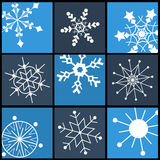 Snowflake Flat Icons Set for Web and Mobile Stock Photo